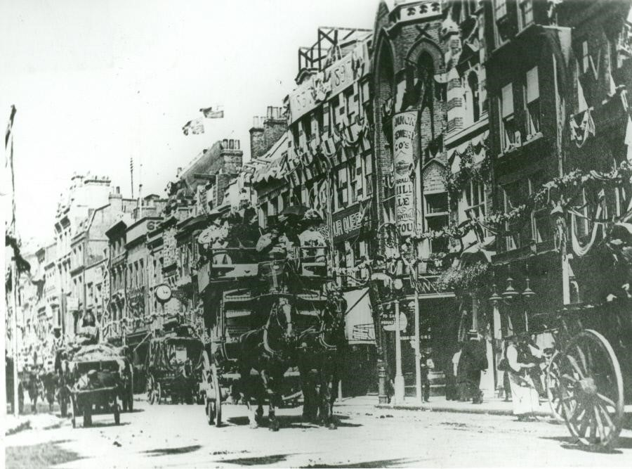 Borough High Street, the building have been decorated for the Queen's Jubliee in 1897..jpg