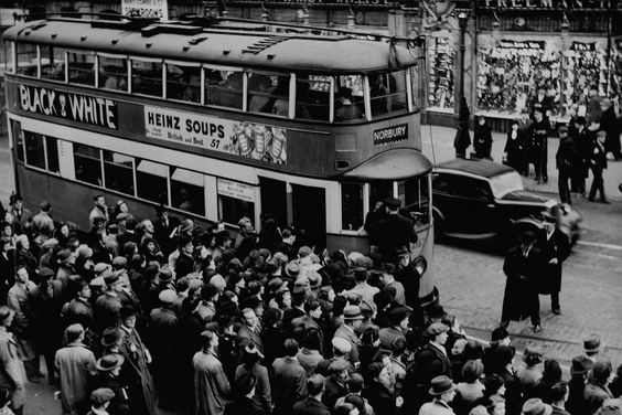 Elephant and Castle during World Cup 1938, rush for trams at South London's Elephant and Castle X.jpg