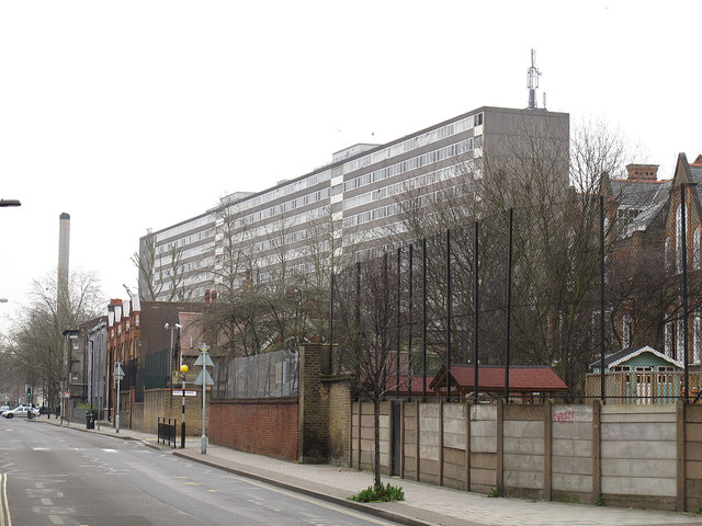 Flint Street, c2017. Looking south from the junction with Rodney Road. Aylesbury estate in background..png