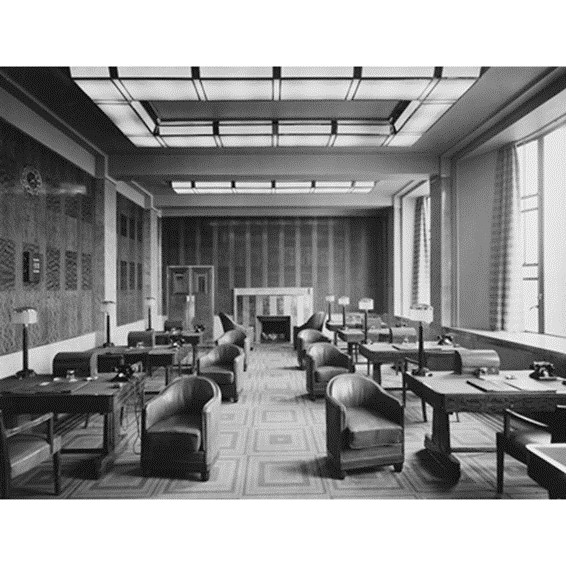 Tooley Street, St Olaf House, Hay's Wharf, the Directors' Common Room with furniture  c1932.  X.jpg