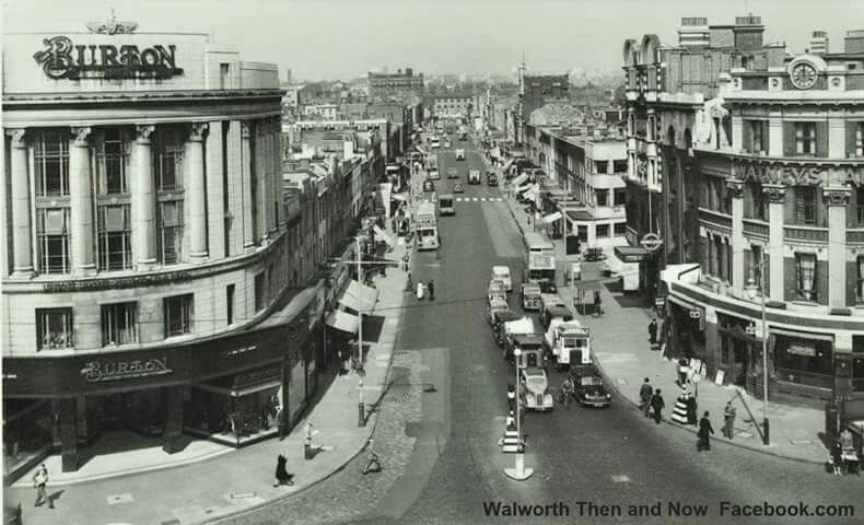 Elephant and Castle 1956, looking down London road. X.png