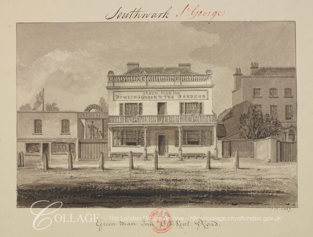 Old Kent Road, Green Man Pub,Dun Cow, C1827.  X.png