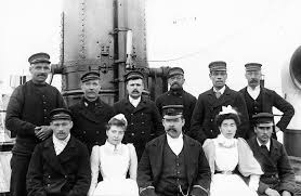 South Wharf, Rotherhithe, River Ambulance Service staff and crew on the Geneva Cross, c. 1902.  X.png