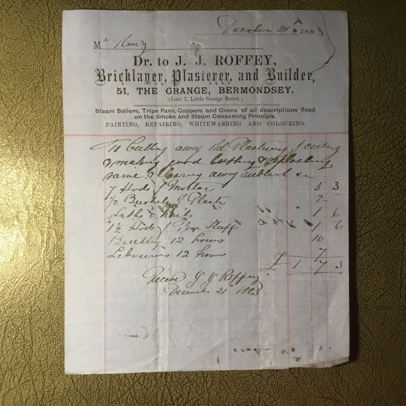 The Grange 1883 Invoice J. Roffey Bricklayer.  X.jpg