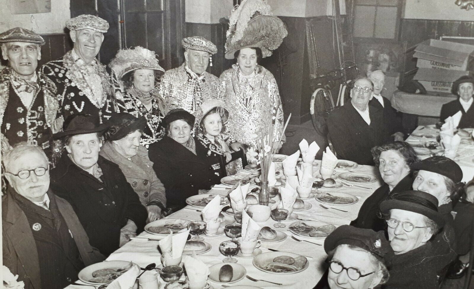Pearly Kings & Queens, Darby & Joan Meal, Rotherhithe c1960.  X.png