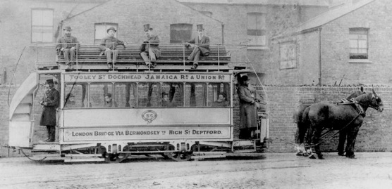 Ramcar No 25 of the Southwark and Deptford Tramways Company stands in the depot yard on Evelyn St —1880s or early 1890s.  X.png