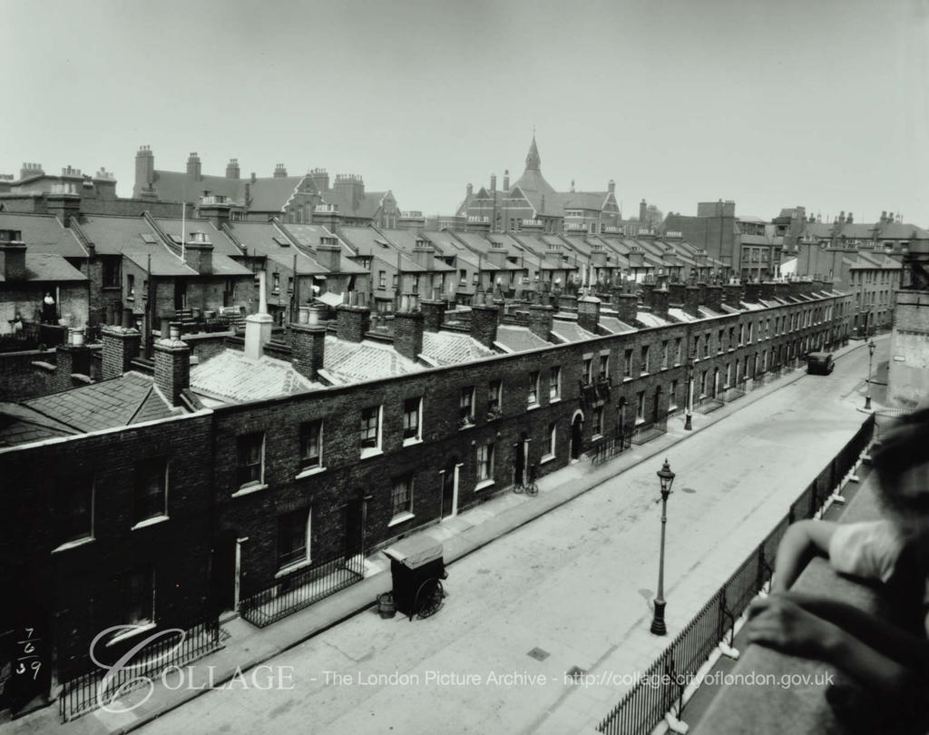 Beckway Street, looking towards New Kent Road. English Martyrs RC School on left in Flint Street.  X.png