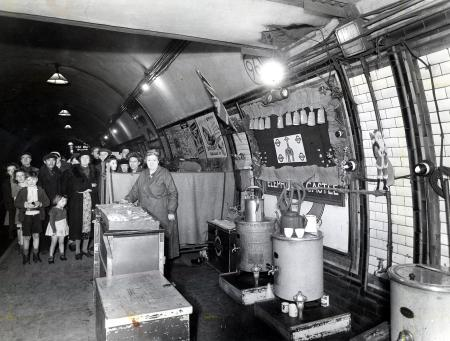 Elephant & Castle Underground station, shelterers during the Second World War. The canteen was declared one of the 'three best decorated canteens' for Xmas 1944. X.png
