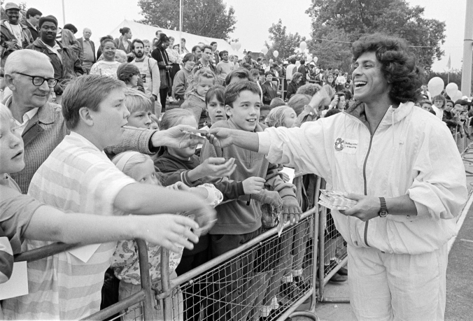 Southwark Park, Athletics 1989, Fatima Whitbread meets the crowd at Southwark Park.   X.png