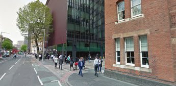 Tooley Street 2016. Abbots Lane right. The green is the site of The Old Kings Head Pub.  X.png