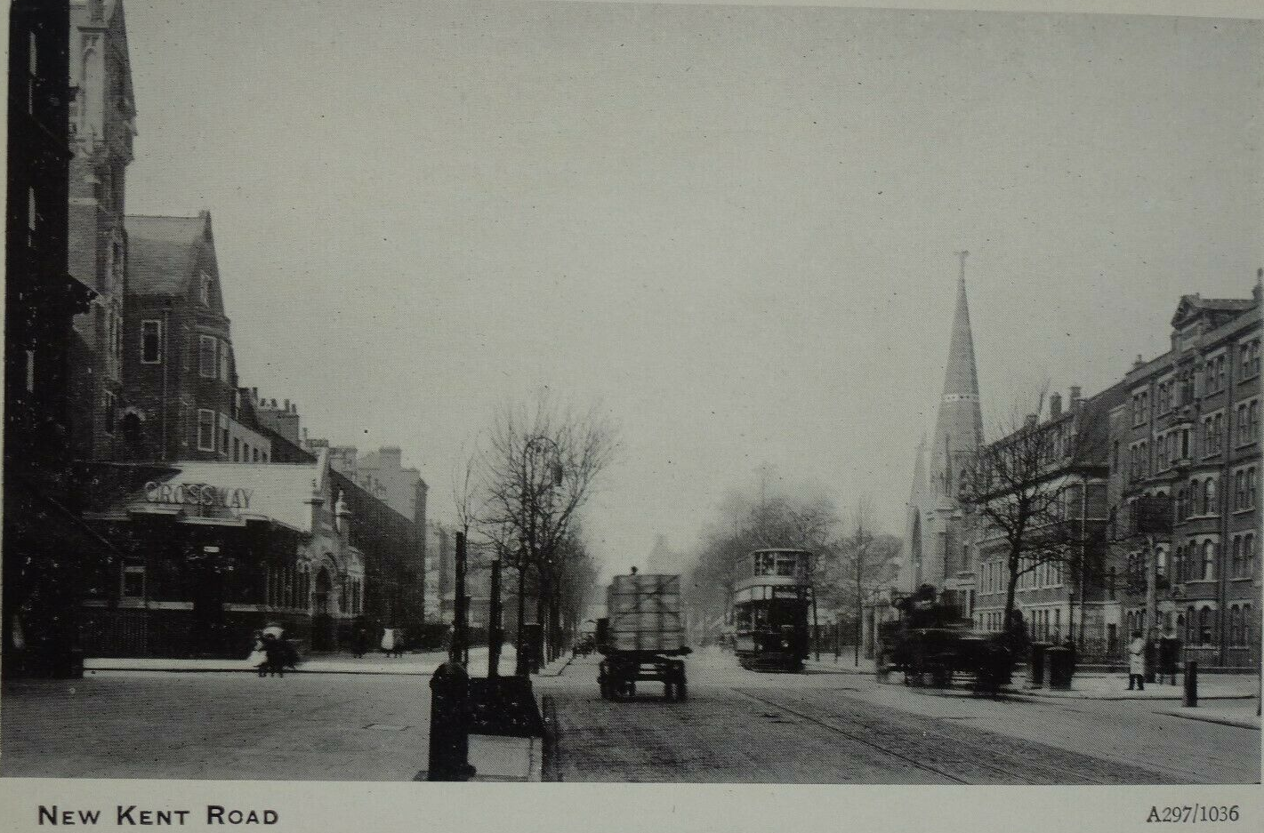 New Kent Road. I think that is St Matthews Church by Meadow Row on the right, it closed in 1980.  X (2).png