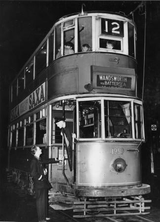 The last number 12 tram (1959) leaves the Borough for Wandsworth,  30 Sep 1950.   X.jpg