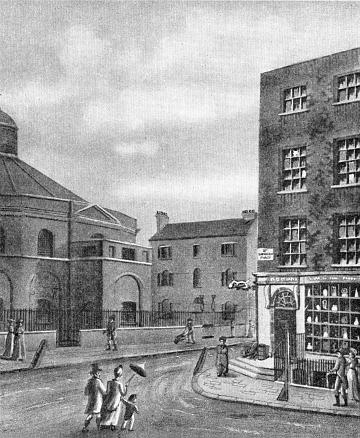 Blackfriars Road c1815, corner with Charlotte Street now Union Street. This part at that time was called St Georges Place.  X.png