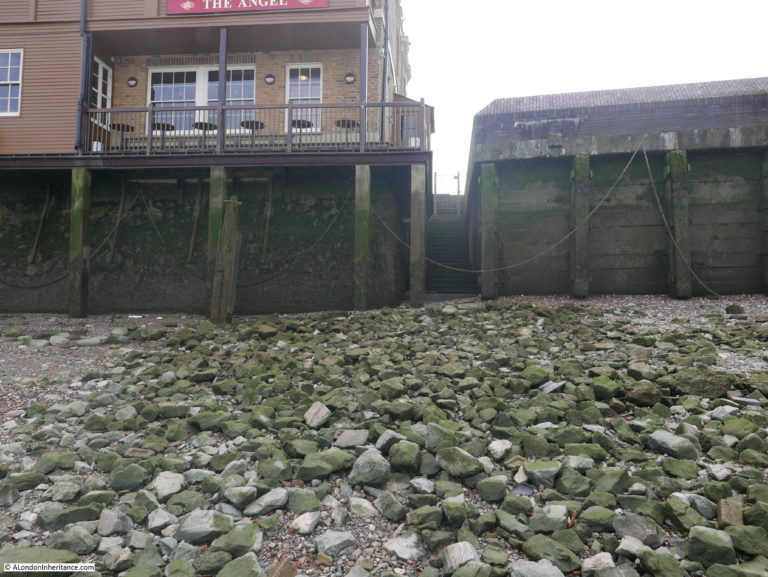 Rotherhithe Street. There is easy access to the foreshore here, by the stairs just to the right of The Angel pub, these are the Rotherhithe Stairs.  X.png