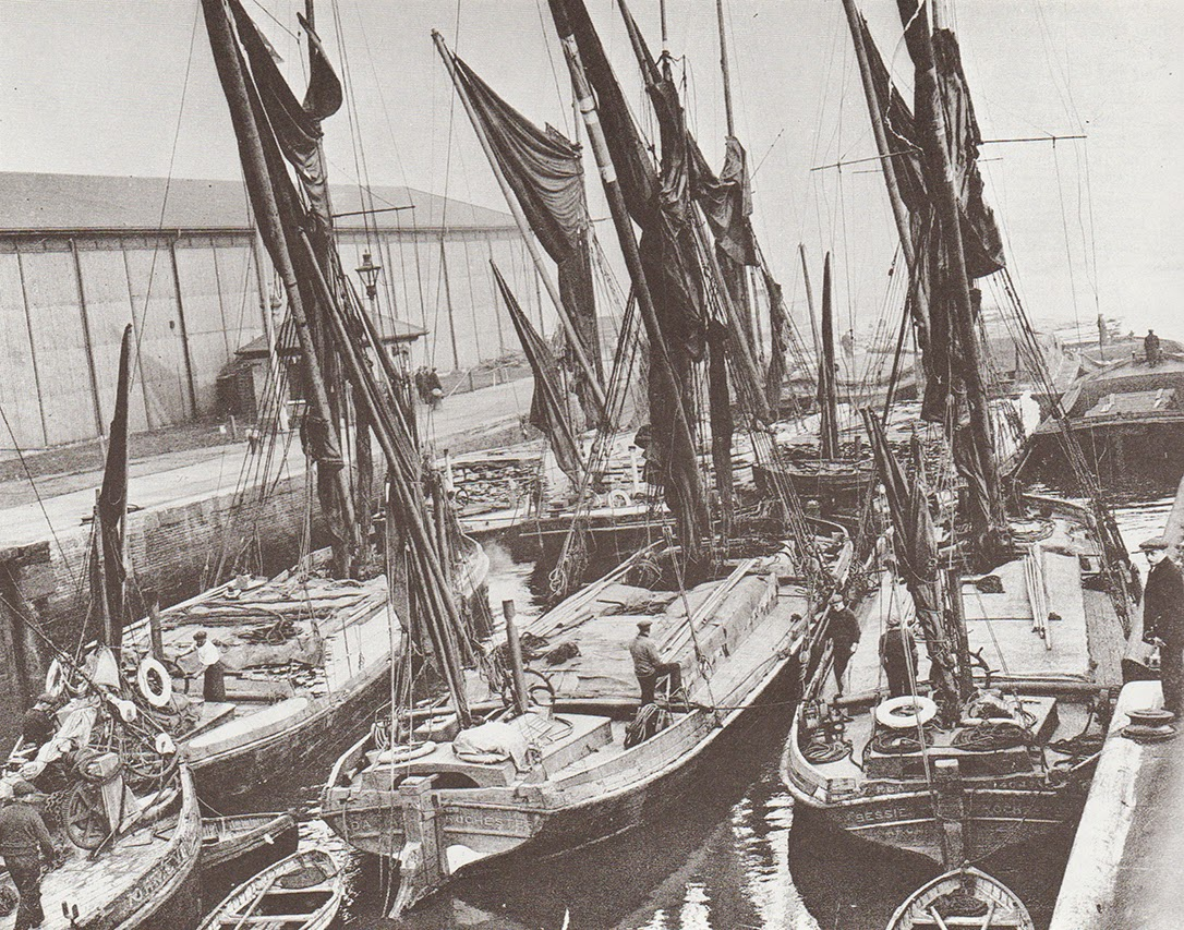Greenland Lock, filled with spritsail barges, 1930s.   X.png