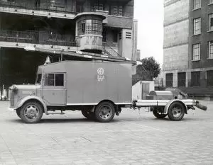 A towing vehicle and trailer pump from 38 A 2V, a Bermondsey sub-station located at Paragon School, Searles Road, London SE1. The picture was taken at the Regional Headquarters, Lambeth. WW2.  X.png