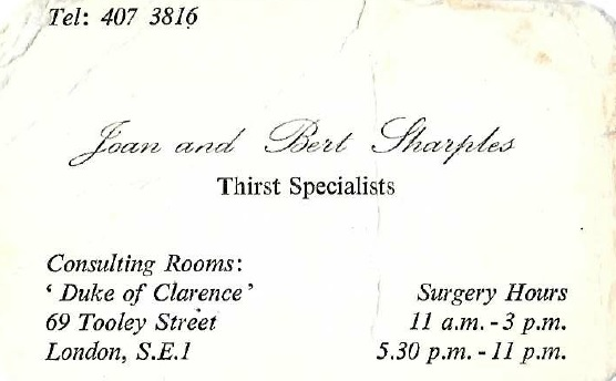Tooley Street, Duke of Clarence, Business card, c.1970.   X.png