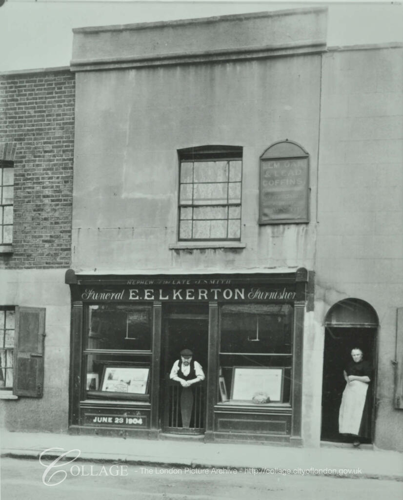 Swan Road, Rotherhithe, formerly Swan Lane, showing business of E. Elkerton funeral furnisher c1904.  X.png