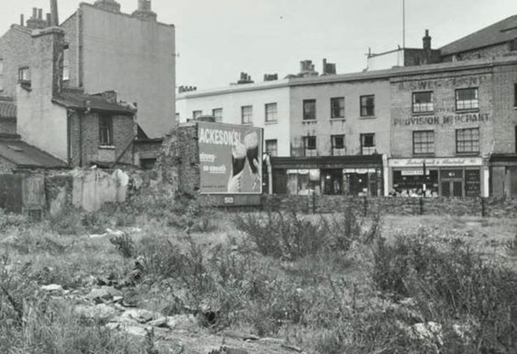 Frean Street looking towards Marine Street and (Old) Jamaica Road Bermondsey 1950's.   X.png
