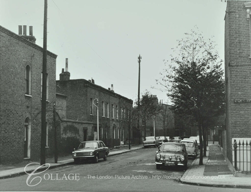 Collett Road, Bermondsey, at the corner of Stork's Road. 1971. looking towards St James Road.  X.png