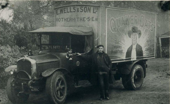 E Wells and Sons Limited, Canon Beck Road, Rotherhithe, C1931. Saurer lorry with driver, for Quaker Oats.  X (2).png