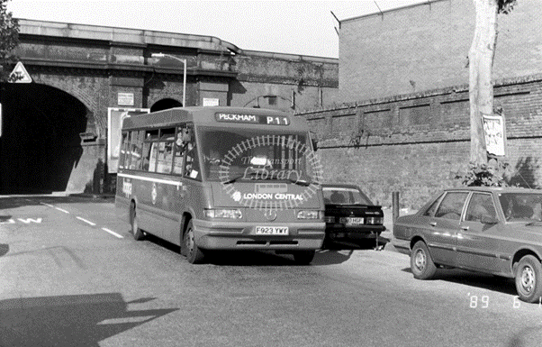 Rotherhithe New Road, South Bermondsey in 1989 on route P11.   X.png