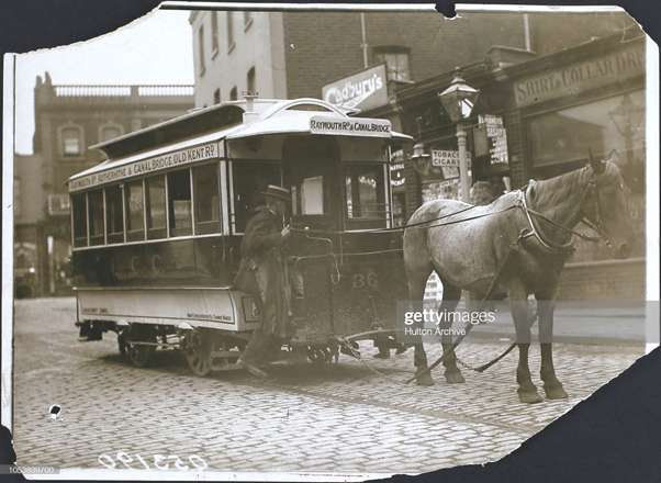 St James Road. The last horse tram route in London 1913. It travels between Raymouth Road in Rotherhithe and Canal Bridge.  X.png